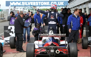 Will Palmer celebrates after taking victory in race three at Silverstone sc