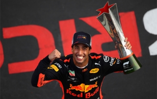 SHANGHAI, CHINA - APRIL 15:  Race winner Daniel Ricciardo of Australia and Red Bull Racing celebrates after the Formula One Grand Prix of China at Shanghai International Circuit on April 15, 2018 in Shanghai, China.  (Photo by Clive Mason/Getty Images)