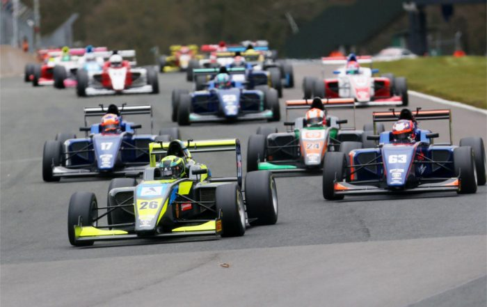 Start of the race Linus Lundqvist (SWE) Double R BRDC British F3 leads